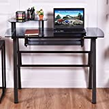 New Glass Top Computer Desk w/Printer Shelf PC Laptop Table Workstation Metal Frame
