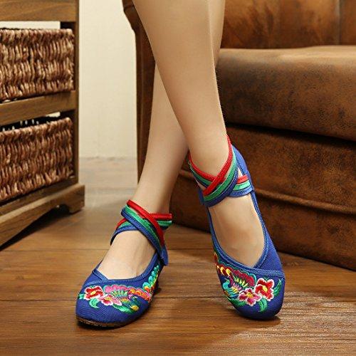 Chinoise Porter Talon Fille Elegante Femme f Confortable Broderie Bleu A Sanc Ete Printemps Pour Chaussure Fleur Yy Yyf YwzExE