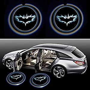 ZOZ 2pcs Wireless No Drill Type LED Laser Car Door Light Welcome Projector Light Logo Ghost Shadow Emblems Magnet Sensor Easy Installing (Batman)