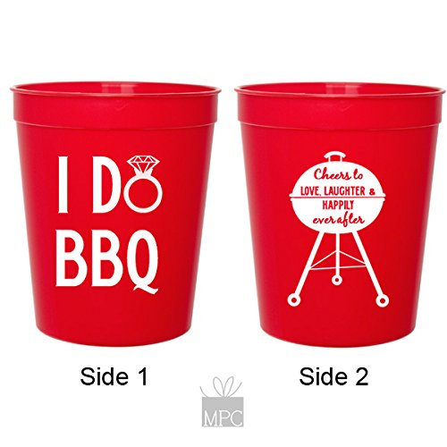 I Do BBQ, Wedding Shower, Red Plastic Stadium Cups (10 cups)