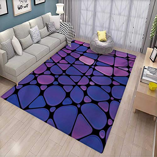 - Abstract Extra Large Area Rug Contemporary Stained Glass Design with Graphic Drops Mosaic Vibrant Pattern Bath Mat for tub 6'6