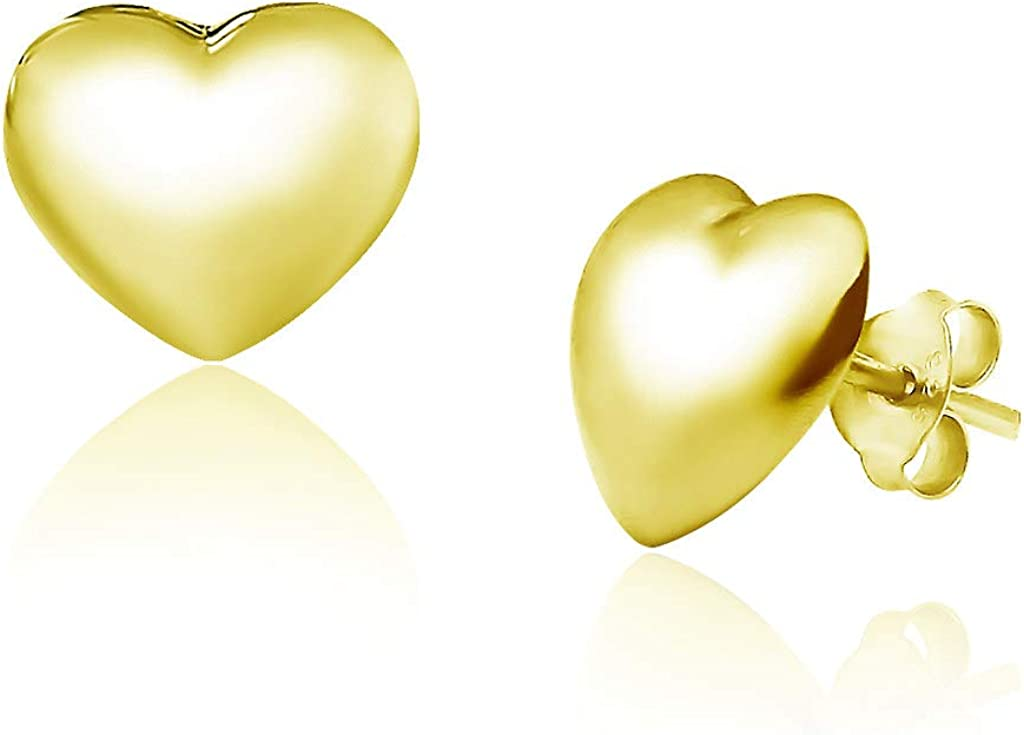 Big Apple Hoops - High Polished Sterling Silver Stylish Hollow Puffed Heart Shaped Stud Earrings Made from Solid 925 Sterling Silver in Yellow Gold Polish Fashion Gift for Men, Teens, Women
