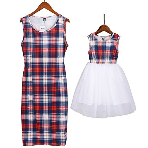 PopReal Mommy and Me Long Sleeve Plaid Tulle Dress Family Matching Clothes Blue -