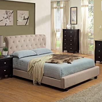 cayman contemporary style beige finish padded velvet queen size bed frame set - Queen Size Bed Frames