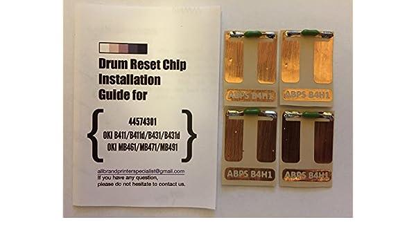 B4H1 Quad] Super Easy Drum Reset Chip for Oki 44574301 Drum Unit ...