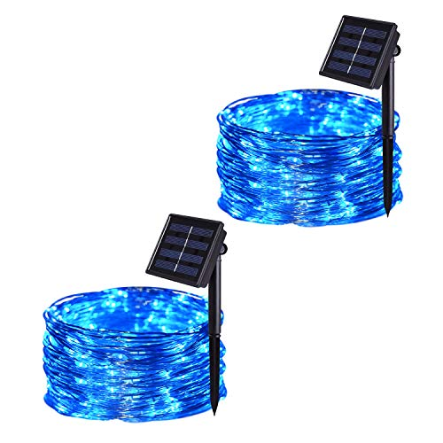 100 Blue Solar Powered Led Outdoor String Fairy Lights in US - 1