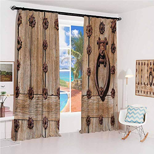GUUVOR Rustic Sunshade Sunscreen Curtain Spanish Entrance of Rusty Medieval Style Handlers Archway Facade Historical Image Soundproof Shade W52 x L54 Inch Pale Brown (Treatments Window Spanish Style)