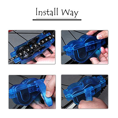 Ezyoutdoor Bike Chain Scrubber Chain Brush Chain Gear Cleaner Bicycle Clean Tool Set Bike Maintenance Care Cleaner Accessories for Cycling Bikes Road Bikes Mountain Bikes MTB