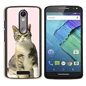 EJOOY---Cubierta de la caja de protección para la piel dura ** Motorola Moto X3 3rd Generation ** --Americana Gato rosado Británico de Pelo Corto Rizo