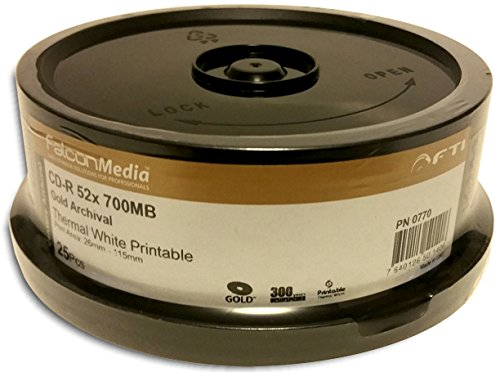 50-Pak FalconMedia ARCHIVAL GOLD White Thermal Hub Printable 52 X 80-Min CD-R's (2 x 25-Pak)