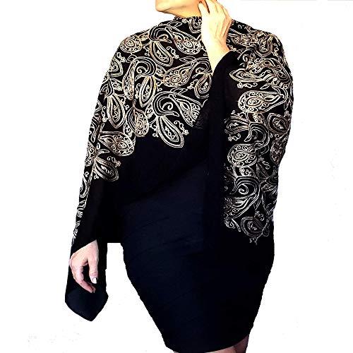 Plus Size Black Wrap Metallic Gold Shawl Women's Formal Wear By ZiiCi