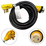 New 15 Foot RV Power Cord Adapter 15 ft 50 amp Detachable Cable with Twist Lock