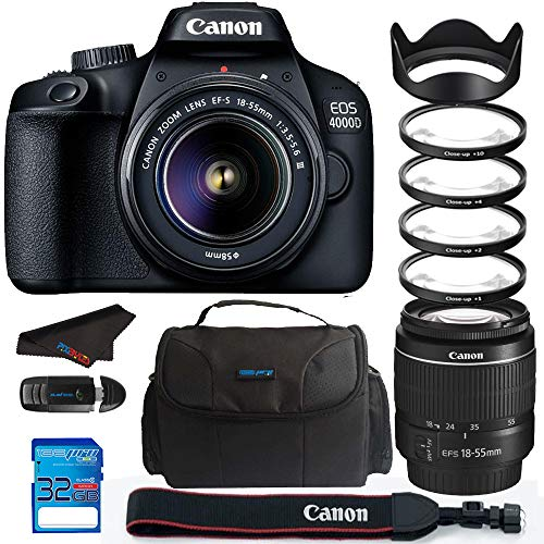Canon EOS 4000D / Rebel T100 18.0 MP SLR – Black w/ 18-55mm DC III Lens Bundle – PixiBytes Up Close Lens Kit