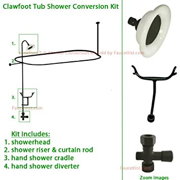 Wonderful Oil Rubbed Bronze Clawfoot Tub Shower Conversion Kit With Enclosure Curtain  Rod 10060ORB