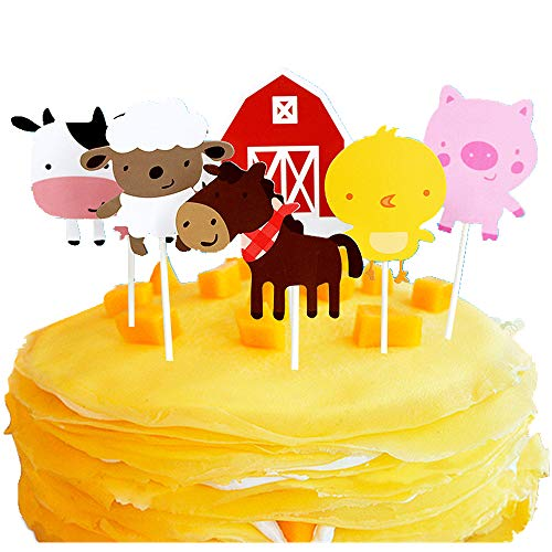 Wootkey Farm Theme 30 Pcs Cute Animal Cupcake Toppers Party Supplies for Birthday, Baby Shower, Valentine Party]()
