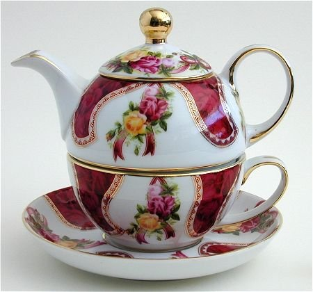 (Ganz Porcelain Tea for One- Pink and Red Floral)