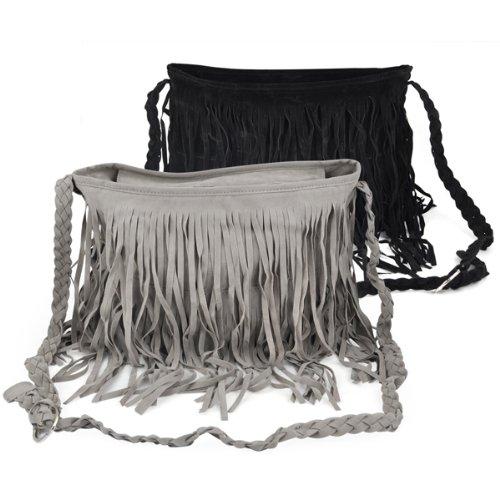 SODIAL (R) Boho Hippie borsa a spalla scamosciata con nappa - Nero