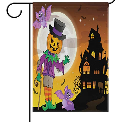 Wamika Halloween House Flag 28 x 40 Double Sided, Mr Funny Welcome Autumn Fall Winter Holiday Outdoor Yard Garden Flags Banner for Party Home Decor