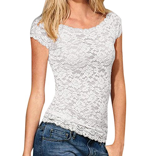 (iLOOSKR Women's Shirt, Sexy Women's Casual Short Sleeve Slim Lace Croceht Women's T-Shirt Top Blouse)