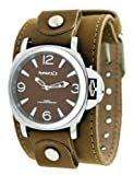 Nemesis #TLBB054K Men's Premium Wide Leather Strap Retro Diver Watch