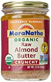 MaraNatha Organic Raw Almond Butter, No Salt, Crunchy, 12 oz