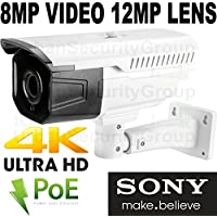USG Sony Chip Ultra 4K 8MP 3840x2160 @ 30FPS H.265 Ultra HD IP PoE Network Bullet Security Camera : 12MP 5mm Lens, ONVIF 2.4, Weatherproof, 4x 42μ IR LEDs, Audio, Alarm, microSD Slot : Free Phone App