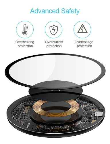Ultra-Slim Wireless Charger Pad Station 10W Compatible with Samsung Galaxy S8//Note 8//5//S7 7.5W for iPhone X 8//8 Plus Baseus Wireless Charger