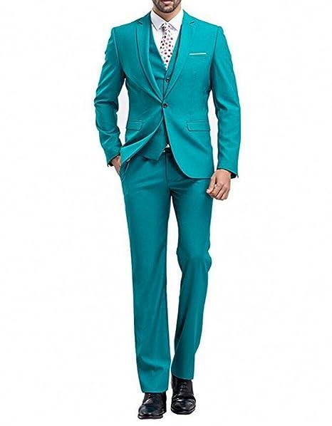 Amazon.com: botong Azul Pavo Real Hombres Suits 3 piezas ...