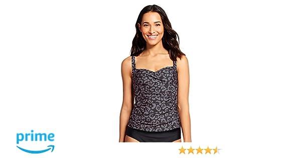 8f956fa696 Merona Women's Shirred Twist Front Tankini Swim Top (X-Large, Black Animal  Print) at Amazon Women's Clothing store: