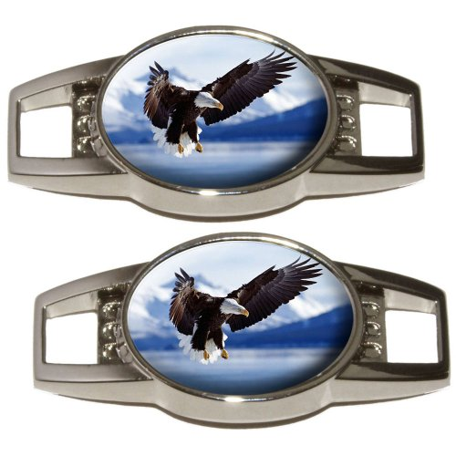 Bald Eagle - Raptor Bird of Prey - Shoe Sneaker Shoelace Charm Decoration - Set of 2