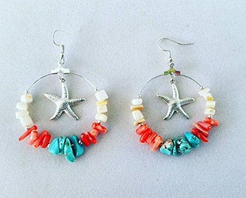 Coral and turquoise starfish earrings (Turquoise Starfish Earrings)