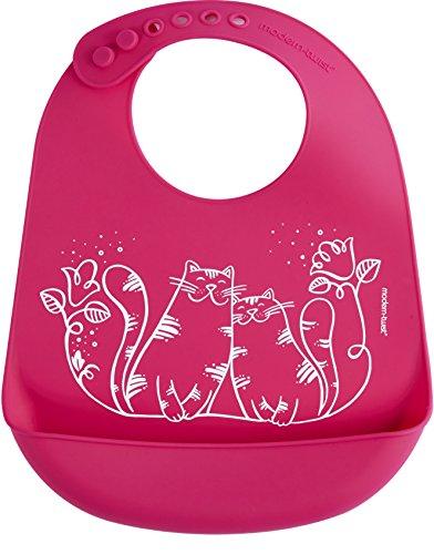 Modern Twist Silicone Bucket Bib, Kitties, Magenta/Pink