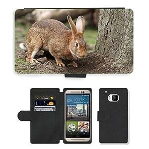 CARD POCKET BOOK CASE PU LEATHER CASE // M00103900 Conejo de conejito mascotas lindo de Brown // HTC One M9