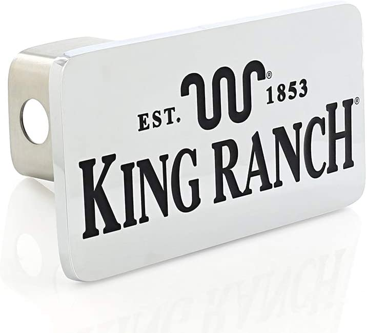 2 inch Post King Ranch est 1853 Wordmark Chrome Plated Trailer Hitch Cover Plug