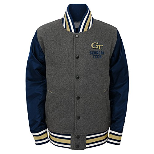 NCAA Georgia Tech Youth Boys Letterman Varsity Jacket, Large (14-16), Charcoal Grey from NCAA by Outerstuff