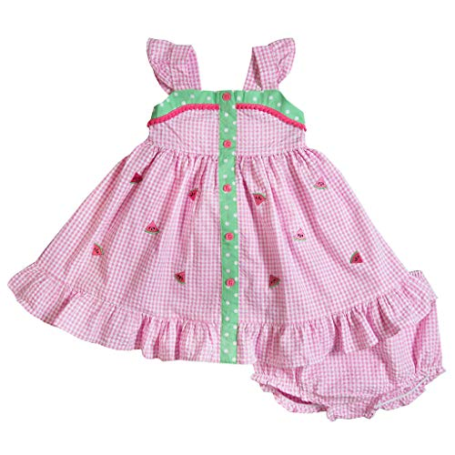 - Good Lad Infant Girls Pink Seersucker Sundress with Watermelon Appliques and Panty (18M)