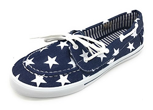Denim Sneaker On Toe Star Shoe Boat EASY21 Comfy Lace Slip Round Tennis Canvas Berry up Flat Blue Z7p0wp