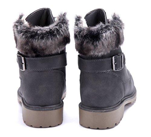 Schuhtempel24 Damen Schuhe Boots Stiefel Stiefeletten Blockabsatz Schnalle 4 cm Grau