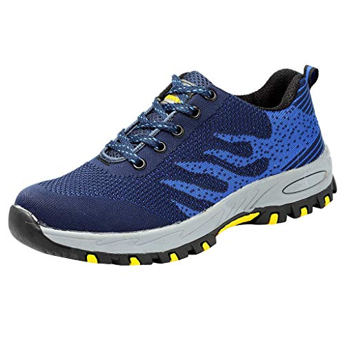 Street Sneakers Men Work Sneakers ✔ Men's Steel Toe Work Shoes Safety Shoes Breathable Casual Construction Shoes Blue