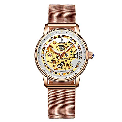 - Women's Self Winding Watch Mechanical Automatic Skeleton Rose Gold Stainless Steel Waterproof Luminous
