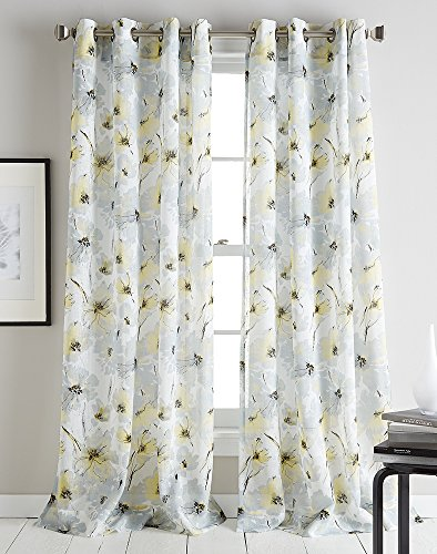 Bloom Window Windows (DKNY Modern Bloom Sheer Grommet Window Curtain Single Panel)
