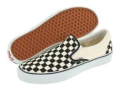 Vans Classic Slip-On Unisex (12.5 B(M) US Women / 11 D(M) US Men, Checker Black/True White)