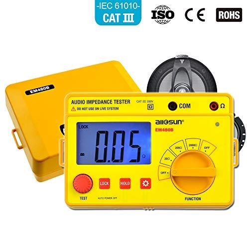 allsun EM480B Digital Handheld Megohmmeter Insulation Resistance Tester Digital Audio Impedance Tester Speaker Voice Resistor Ohmmeter LCD Backlight ()