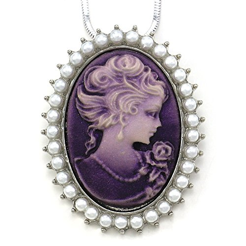 SoulBreezeCollection Lavender Purple Cameo Necklace Pendant Faux Pearl Fashion Jewelry