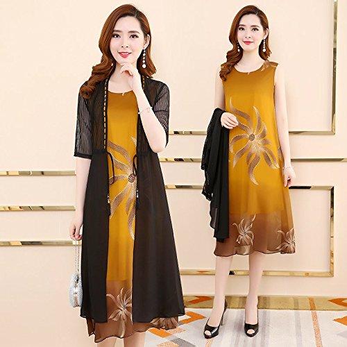 Longue Deux Maman Impression L d'age Robe Yellow Robe MiGMV pice Moyen Robes Jupe ptgtw