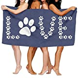 ZengJianSm Unisex Animal Lover Dog Paw Print Beach Towels Washcloths Bath Towels For Teen Girls Adults Travel Towel Pool And Gym Use 31x51 Inches