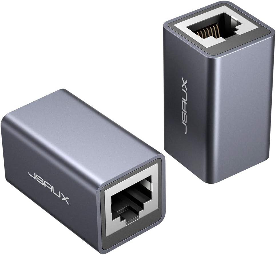 JSAUX Adaptador RJ45 Hembra a Hembra[2Pack] Conector RJ45 Hembra a Hembra Acoplador RJ45 Pare Cable LAN, Cable de Red, Cable de conexión, Cable Ethernet, acoplador de Red para Cat7, Cat6, Cat5 -Gris