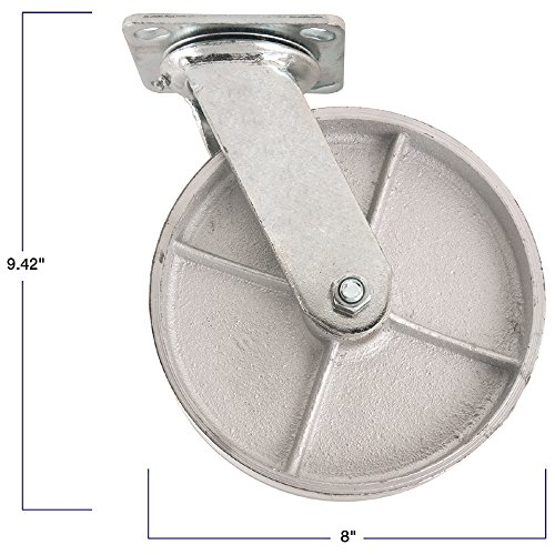 Steel Caster Wheel with Swiveling Top Plate  - 8-Inch -  1050 lb. Load Capacity  -  Great for Stationary Loads that are Not Frequently Moved by SoftTouch (Image #2)