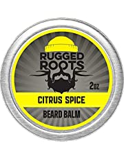 Beard Balm for Men by Rugged Roots - Hair Nourishing Beard Balm with Citrus Spice Scent for Healthy Shiny Beards - Encourage Strong Beard Growth and Strengthen Hair - Unique Stocking Stuffers for Men