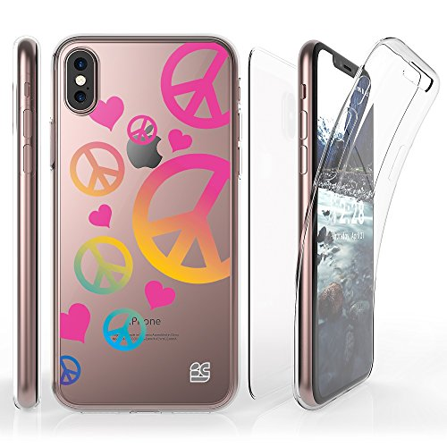 Iphone X Case, Trishield Gear [Trimax] Ultra Slim Transparent Clear Hybrid Shock Absorbing Scratch Resistance With Built In Screen Protector Flexible Gel Cover - Peace Sign